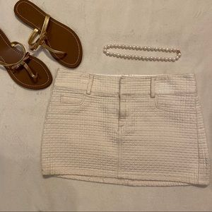 Alice + Olivia White Quilted Skirt